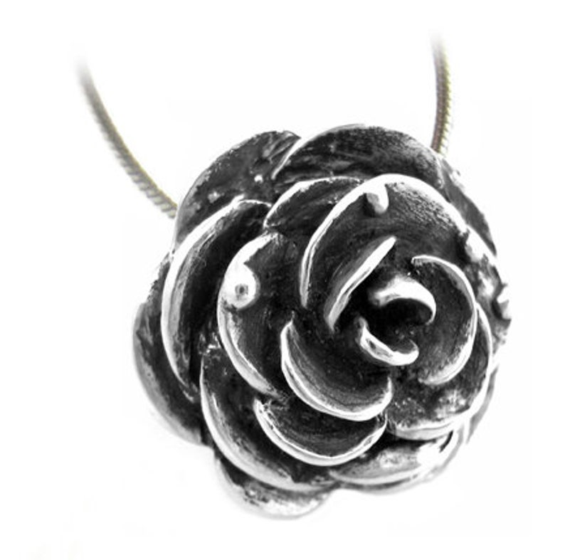 SALE Victorian Rose Necklace  Silver Goth Steampunk Black image 0