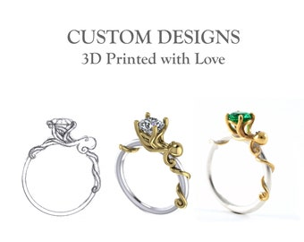 3D Printed Custom Designs Create Your Own Ring Drawings 3D CAD Models Wedding Engagement Gold Diamond Solitaire Master Jeweller Rickson
