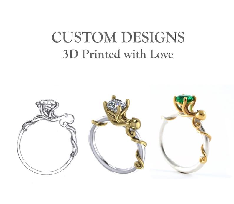 adf07653ae 3D Printed Custom Designs Your Own Custom Ring CAD 3D Print | Etsy