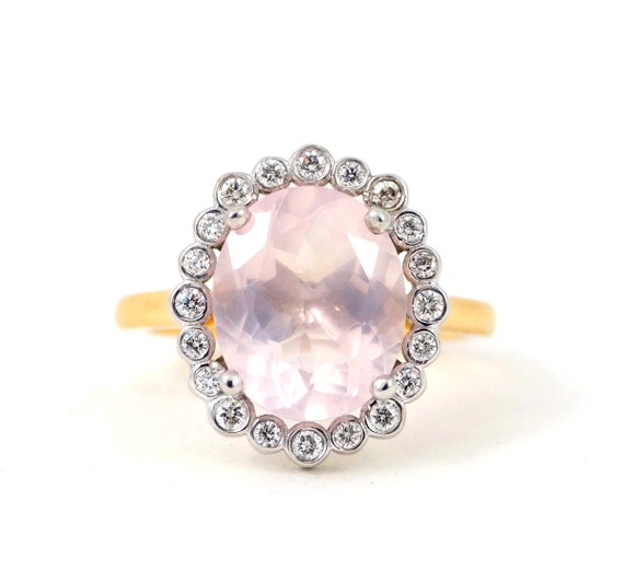 Rose Quartz Beauty - Handmade 3D CAD Vintage Inspired New Oval Two Tone White and Yellow gold Diamonds Engagement Alternative Wedding Ring