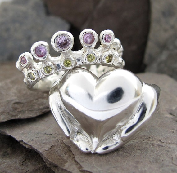 Claddagh Stacking Ring Set, Family Birthstone Heirloom - Personalize, Sterling Silver, Choose Stones, Gifts For Her, Rickson Jewellery 97&98