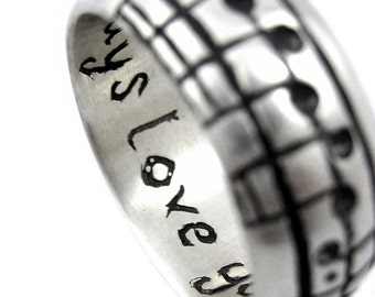The Original Music Notes Ring, Sterling Music Wedding Ring, Personalized Sheet Music, Custom Music Note, Music Jewelry, boyfriend Gift 14