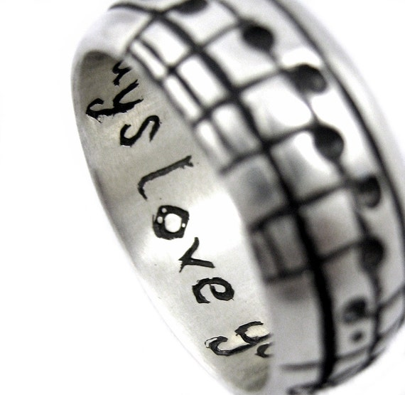 The Original Music Notes Ring, Sterling Music Wedding Ring, Personalized Sheet Music, Custom Music Note, Music Jewelry, boyfriend Gift 14