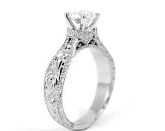 Antique Elegant Disney Princess Ring Vintage Antique Inspired White Gold and Diamond Engagement Millgrain Scrollwork Engraving Moissanite