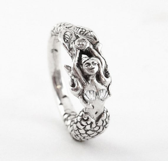 Mermaid Claudia - Sterling Disney Princess Engagement ring with a Diamond Ariel Diamond Ring Little Mermaid Nautical Mystical Jewelry 189