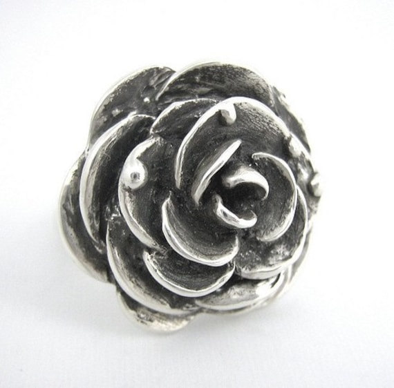 SALE Victorian Rose Ring - Silver Goth Steampunk Black Rose Ring Gift for Her Rose Engagement Wedding Statement Ring Rickson Jewellery 38