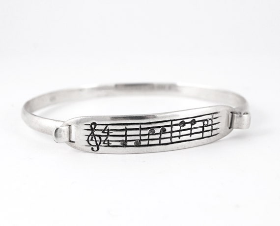 Sounds of Love Bracelet - Sterling Silver Music Note Cuff Bracelet Unique Nerd Geekery Gift Musician Song Jewellery Personalized Customized