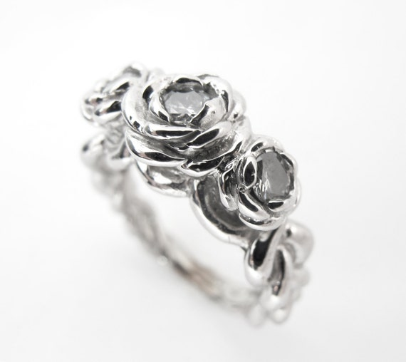 Rose Ring - Unique Alternative Engagement Ring, White Gold and Diamonds, Made to Order, Anniversary Present, Rickson Jewellery 119a
