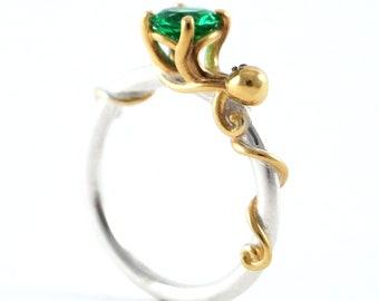 Octopus Joy - Ocean Emerald Engagement Ring for Cephalopod Kraken Sea Creature fans - Rickson 213 250 251 OCT