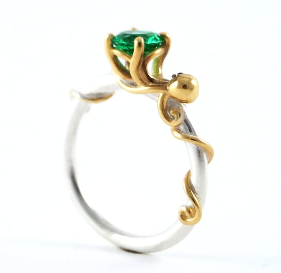 Octopus Joy - Ocean Emerald Engagement Ring for Cephalopod Kraken Sea Creature fans - Rickson 213 250 251 OCT