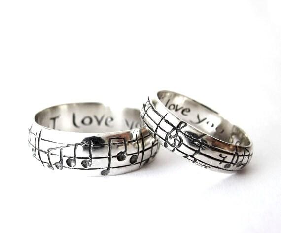 custom music note wedding bands original real music notes ring