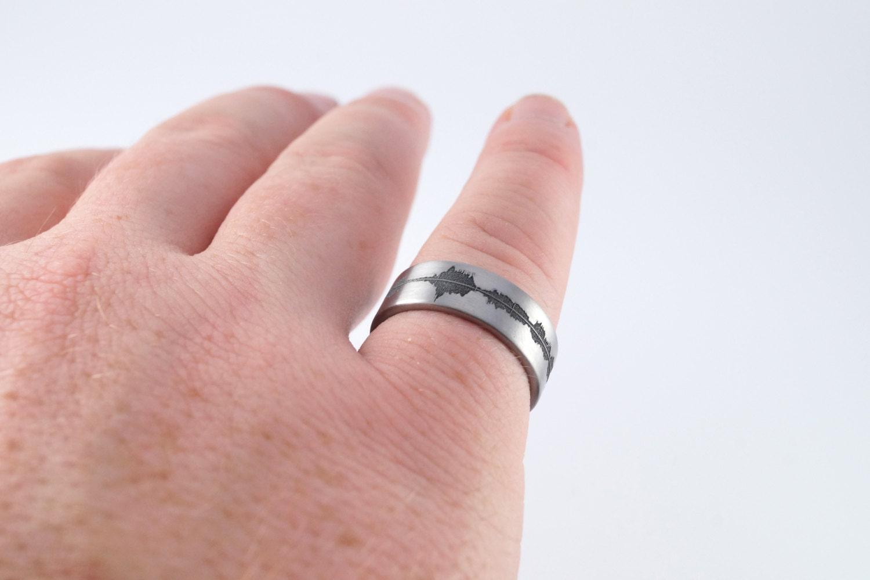Custom Titanium Soundwave Ring - Geek Wedding Band for him ...