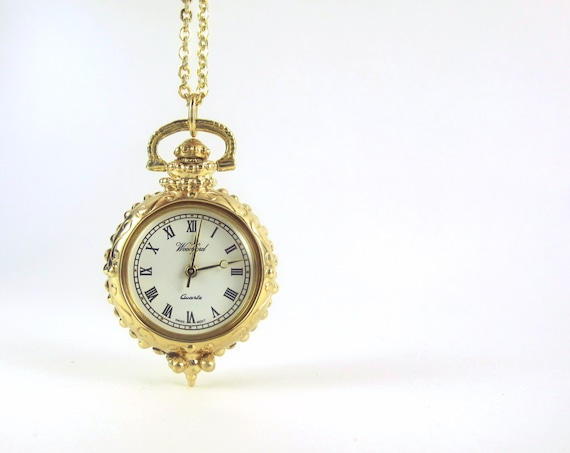 Solid Gold Watch Pendant - Caduceus, Quality Quartz Woodford Watch with Second Hand, Nurse Fob Watch, Solid Gold Watch, Handmade 162-3-4