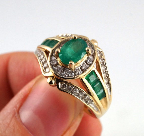 Vintage Emerald and Diamonds Art Deco Ring with Certificate 7.5 Yellow Gold Unique Statement Wedding Engagement Anniversary May Birthstone