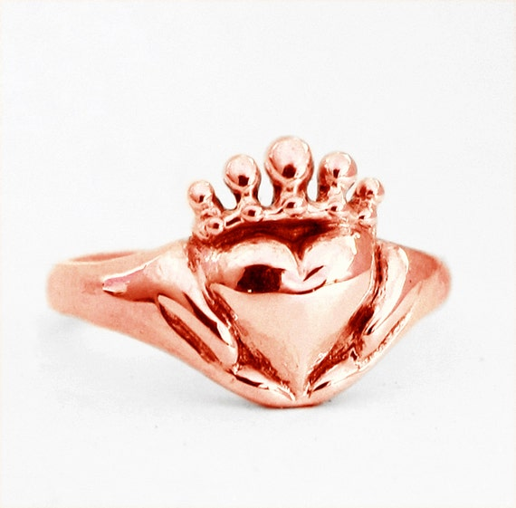 Gold Claddagh - White, Yellow or Rose Gold, Celtic Promise Wedding Ring Alternative Engagement Custom Anniversary, Rickson Jewellery 115