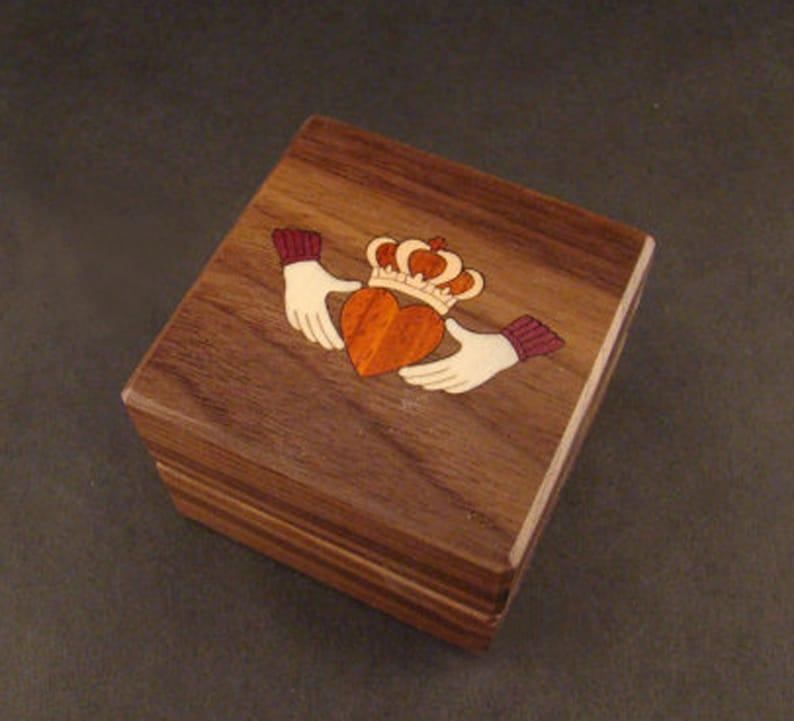 Custom Engagement Ring Box  Claddagh Wolf Cat Music Unique Claddagh Box