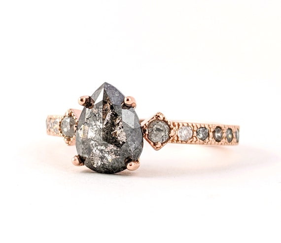 Custom Reserved Salt and Pepper Pear Shape Diamond Ring in 14kt rose gold with Graduated white gray and black diamond accents