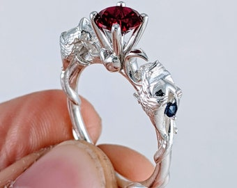 Phoenix Fire Bird Engagement Ring - Custom Crescent Moon Wedding Ring with Birthstones and a Heart Unique Rickson Jewellery