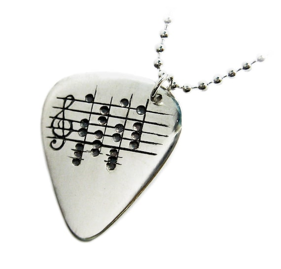 Custom Music Note Guitar Pick Necklace, Sheet Music Notes, Real Guitar Pick, Sterling Stamped Guitar Pick, Musician Gift, Graduation 15