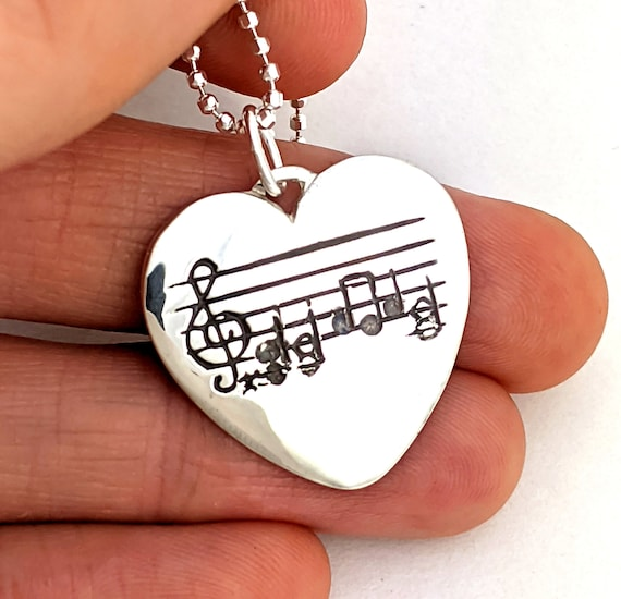 I Heart Music, Sterling Music Note Guitar Pick Necklace, Sheet Music Jewelry, Custom Music, Music Note Guitar, Gift For Her, Rickson 110