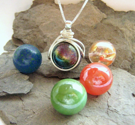 The POP in Interchangeable Nebula Marble Necklace Jewelry Gift Set - 5 Colored Glass swirl Marbles - Girls Galaxy Gift Personalize - Rickson