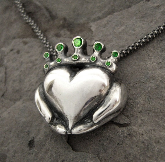 Claddagh Necklace - Emerald Colour CZ Stones - Handmade - Romantic, Gifts For Girlfriend, Gifts For Her, Celtic Heart -Rickson Jewellery 113