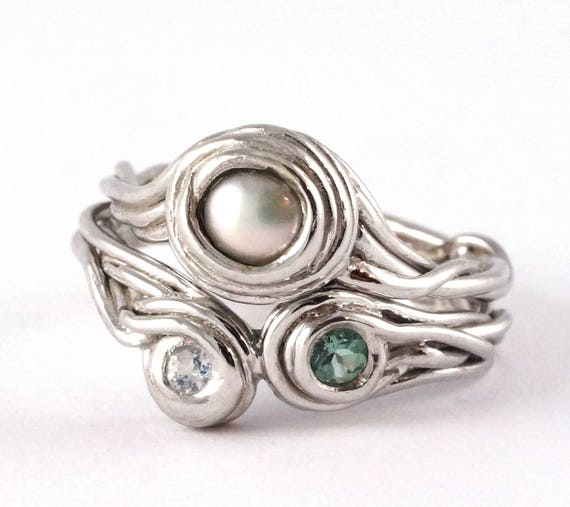 Unique Interlocking Pearl Engagement and Wedding Ring Set - Tree Fresh water pearl alternative Wedding Rustic Vines Nature Inspired 205 206
