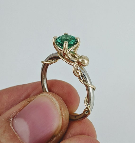 Custom Genuine Emerald Octopus ring with White Gold band and Yellow Gold Octopus