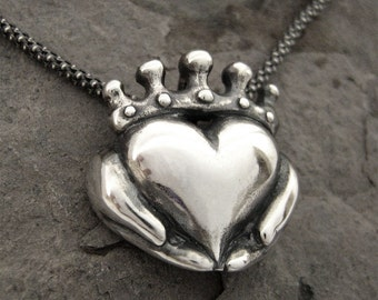 Handmade Claddagh Necklace - Ready to Ship, Claddagh pendant, Sterling Claddagh, Celtic Jewelry, Irish Promise Pendant, Gift for her 267 12