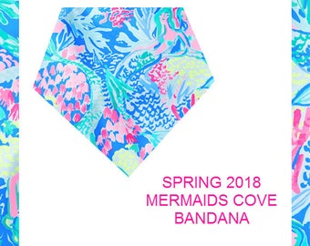 2018 MERMAIDS COVE | Snap on Reversible Dog Bandana | Made from Lilly Pulitzer Fabric