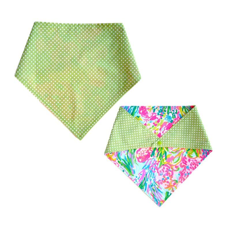 Snap on Reversible Dog Bandana FAN SEA PANTS Made from Lilly Pulitzer Fabric