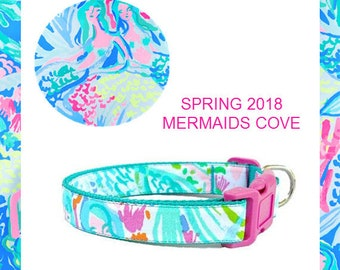 2018 MERMAIDS COVE | Dog Collar and/or Leash on Teal | Bow or Flower Option | Made from Lilly Pulitzer Fabric Size: Your Choice