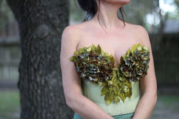 Whimsical Nature Flower Forest Festival Fairy Vintage Bustier Halter Bra