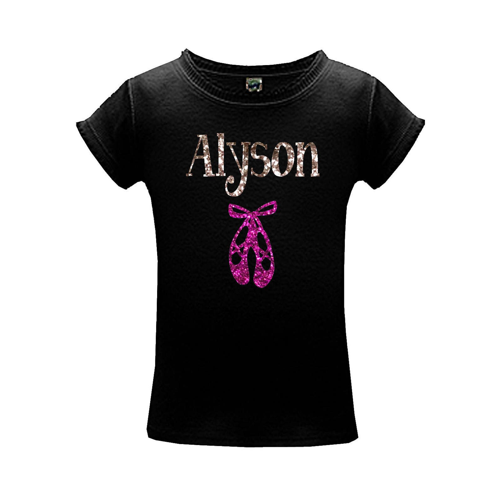 dance glitter shirt, personalized name with sparkle ballet shoes, gift for girls