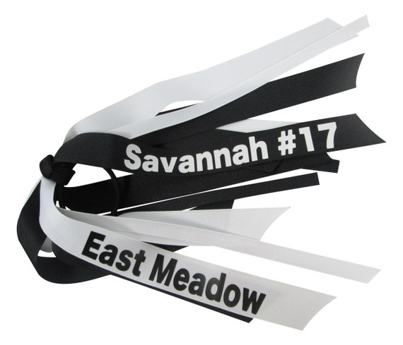 personalized ponytail bow hair tie name or school or team etsy