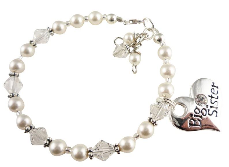 Big Sister Bracelet with birthstone crystals and pearls little sister bracelet