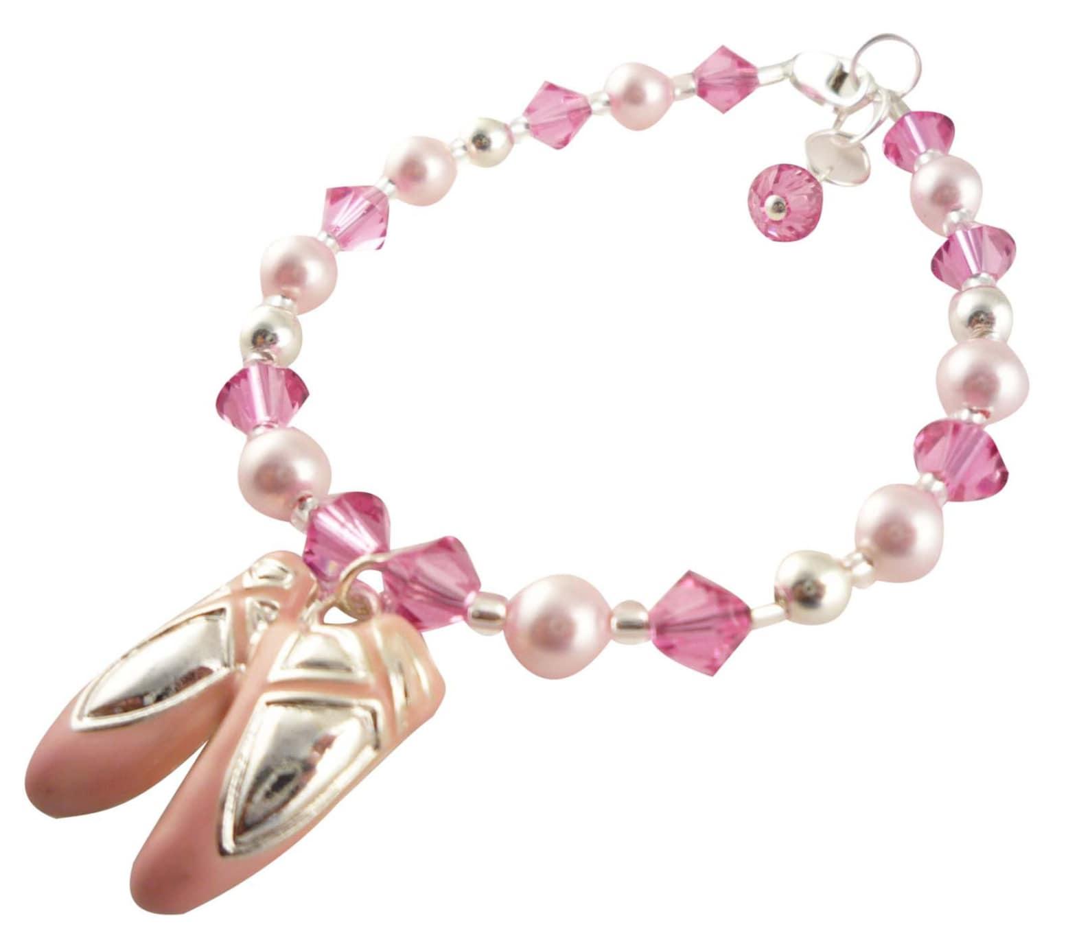blue crystal ballet dance bracelet, charm recital bracelet- custom colors and size, pink ballet shoes