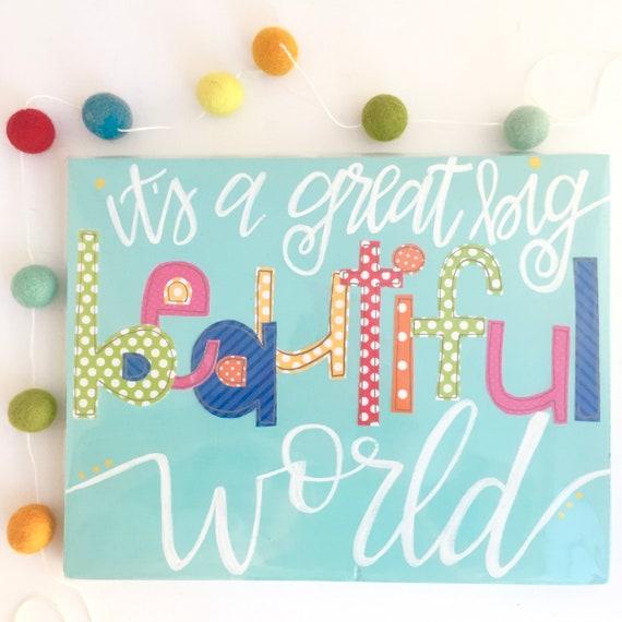Life is Beautiful Sign • girls room decor • kids room decor • colorful home decor • nursery decor • rainbow sign •Handlettered Signs