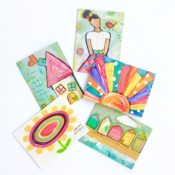 Set of 5 notecards with envelopes, whimsical paintings blank cards, thank you cards, stationary set, all occasion cards, art prints