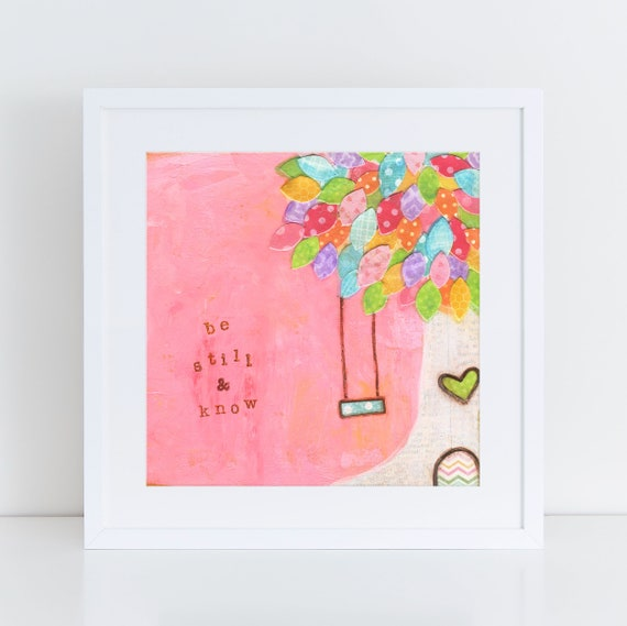 Tree swing art painting, nature painting, whimsical pink room decor, be still and know, square art print, Christian art, 8x8, 12x12 prints
