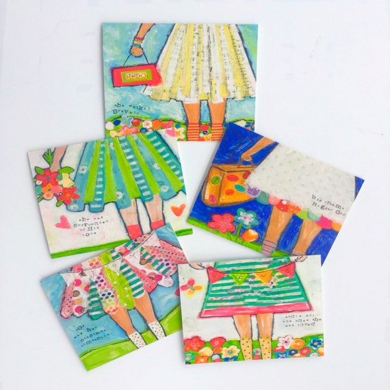 Set of 5 notecards with envelopes, hand painted brave girls, blank cards, thank you cards, stationary set, all occasion cards, art prints