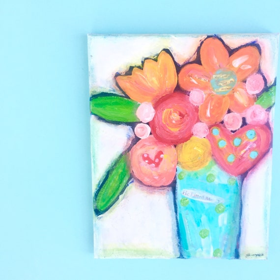 Colorful Flower Painting, Abstract Flower art, Textured Wall art, Canvas Painting • Nursery Decor • Acrylic Painting • Colorful Art • floral