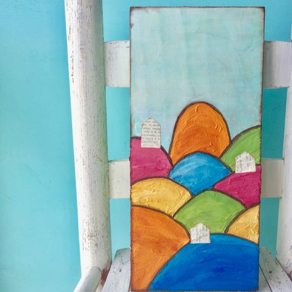 Colorful Landscape Painting * Whimsical Art * Heavy Texture Painting * Mixed Media Painting * Bold Colorful interior design