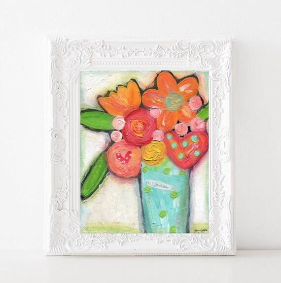 Floral Nursery decor, Bright colorful Flower painting, Christian wall decor, flowers in vase original acrylic art print, 8x10, 11x14 prints