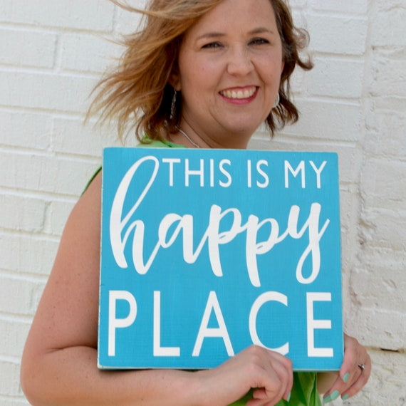 This is my happy place sign • This is our happy place • craft room sign • housewarming gift • modern farmhouse • wedding gift • beach house
