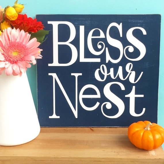 Rustic Bless our nest sign. Bless our Home. Housewarming sign. Family sign. Square Wood Sign. Typography art. Collage wall art.