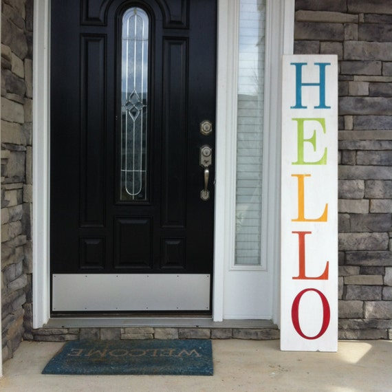 Large Welcome Sign. Hello Sign. Oversized sign. Outdoor sign. front Porch Sign.  Entryway Sign Statement whimsical entry way sign.