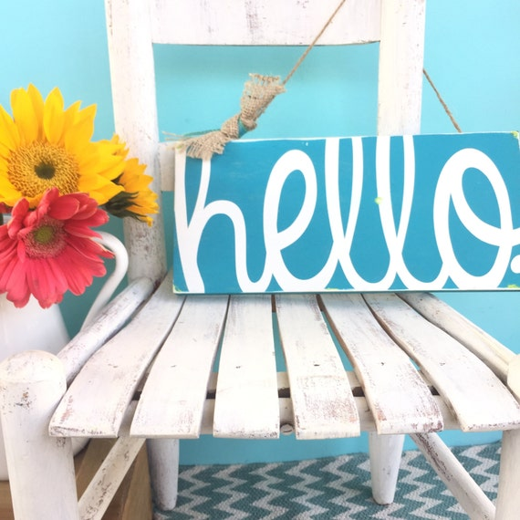 Front door sign. Welcome sign. Painted wood sign. Hello sign. Primitive sign. Rustic sign