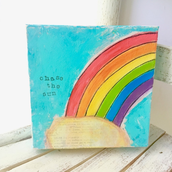 Colorful Rainbow Art. Chase the Sun. Original painting on canvas.