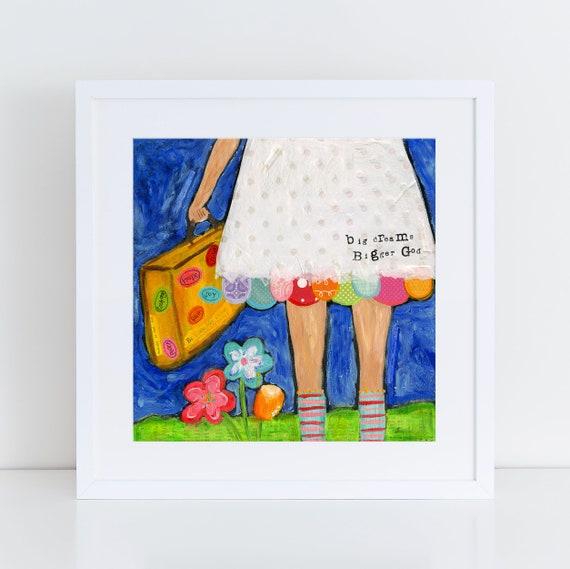 Christian Wall Decor, Dream Big Print, Whimsical Girls Room Decor, Brave Girl Painting, square art print, Christian art, 8x8, 12x12 prints